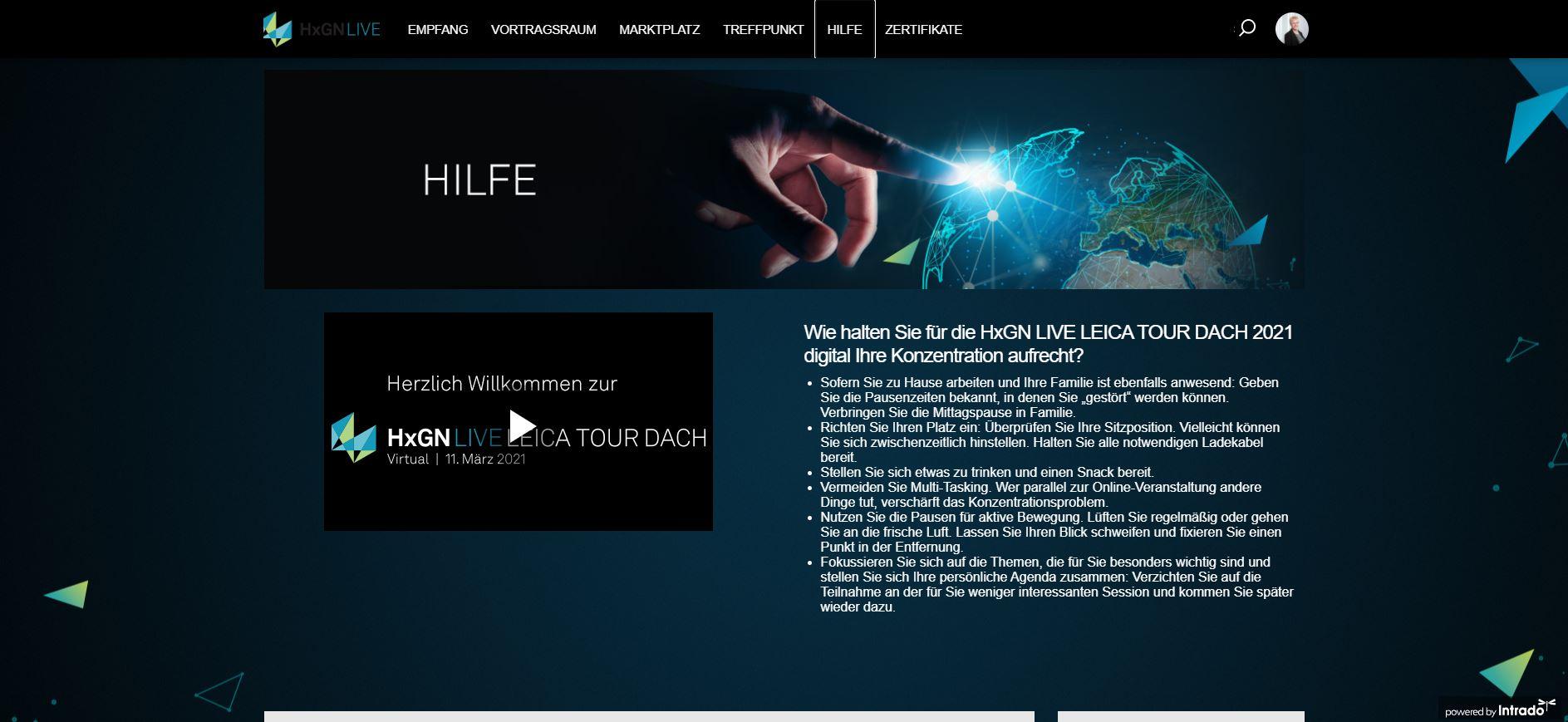 Der Hilfe-Bereich - HxGN LIVE LEICA TOUR DACH 2021