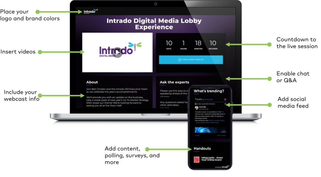 Schau Dir unbedingt die neue Intrado Event-Lobby an - Übersicht Funktionen