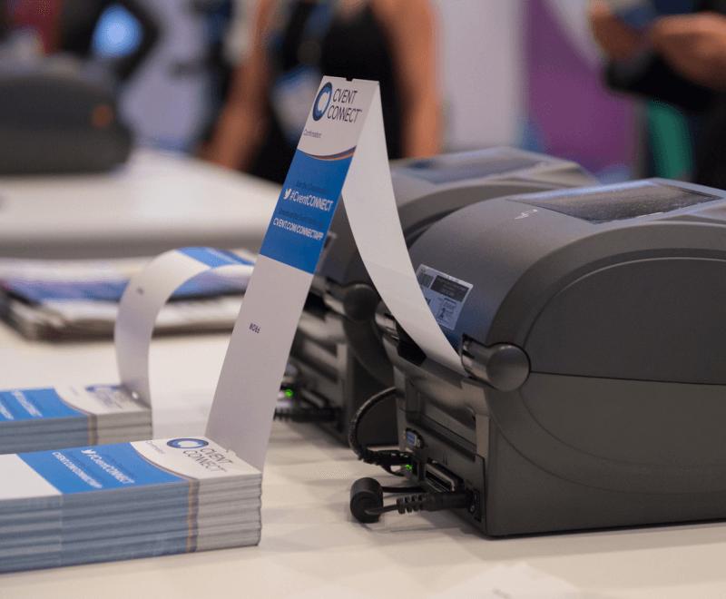 Badge Drucker zum Check in auf einem Event